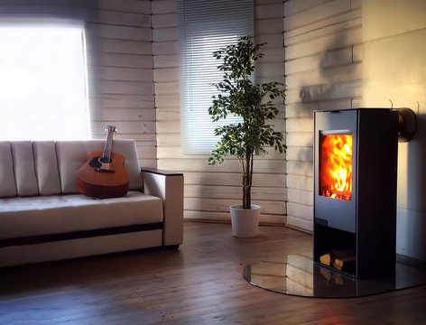 Wood burning stove in cozy living room