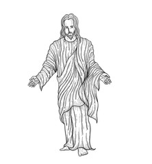Jesus christ vector by hand drawing.God of christ highly detailed in line art style.