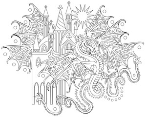 Black and white page for coloring. Fantasy drawing of flying dragon. Worksheet for children and adults. Vector image.