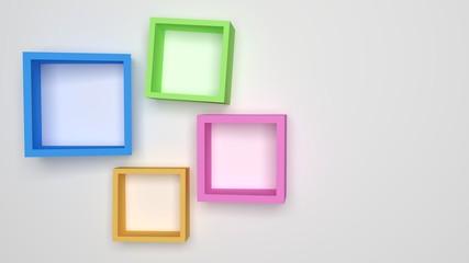3D rendering colorful frame on white background. Illustration.