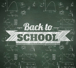 Back to school message against green chalkboard