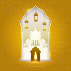 Ramadan kareem islamic beautiful design template. Mosque composition in paper cut style. Background for greeting card, banner, cover or poster. Vector illustration. EPS 10.
