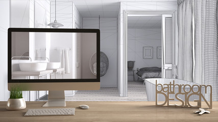 Architect designer project concept, wooden table with keys, 3D letters words bathroom design and desktop showing draft, blueprint CAD sketch in the background, white interior design