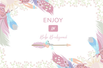 cute cards for banners,Flyers,Placards with feather,arrow and flower