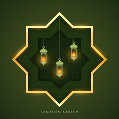 Ramadan kareem islamic beautiful design template. Holiday composition in paper cut style. Background for greeting card, banner, cover or poster. Vector illustration. EPS 10.
