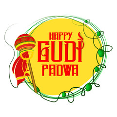 nice and beautiful abstarct or poster for Gudi Padwa with nice and creative design illustration.