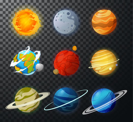Solar System planets isolated vector.