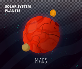 Solar System planet Mars isolated vector.