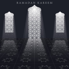 Islamic design mosque door for greeting background Ramadan Kareem. Ramadan Kareem background greeting card template. Vector illustration.
