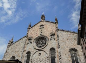 the splendid facade of the duomo of como built in the 15th century.Italy