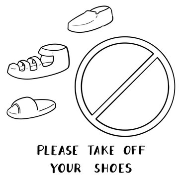 vector set of please take off your shoes sign