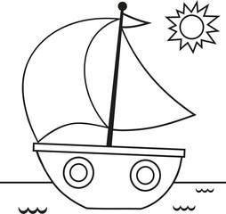 Black and White Sail Vector Illustration