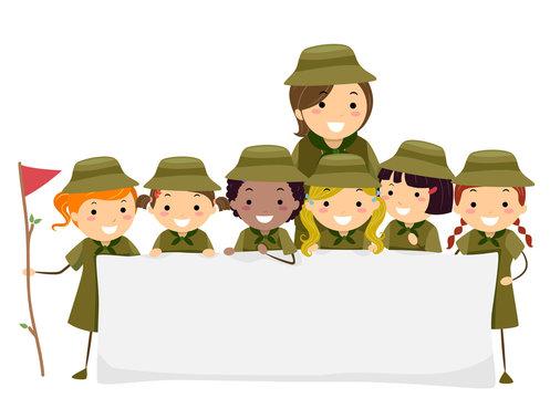Stickman Kids Girl Scouts Banner Illustration