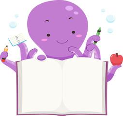 Octopus Mascot Open Book Illustration