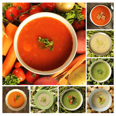Collage with different soups