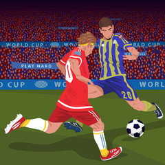 Soccer gameplay. Two football players from different teams, running for ball on football field, front side view, spectator area on background. Duel concept