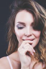 portrait of beautiful delicate woman. Portrait. Beauty. Glamorous look.
