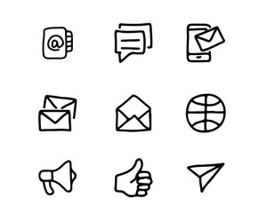 messaging hand drawn icon set design illustration, hand drawn style design, designed web and app