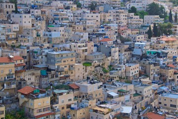 Old houses crowded in the city of Jerusalem, Israel