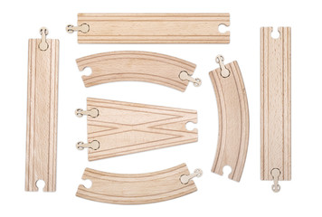 Set of separate sections of the wooden railway for children's development on white background.