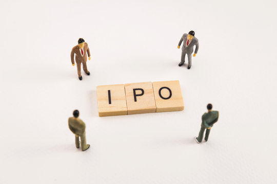 businessman figures meeting on ipo conceptual