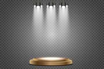 Wall Mural - Empty podium with spotlights. Pedestal. Vector illustration.
