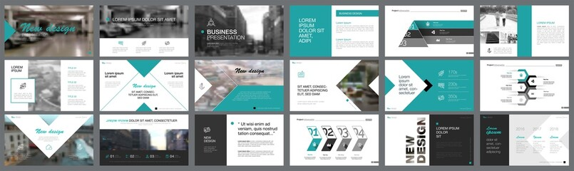 Black and green marketing or banking concept infographics set