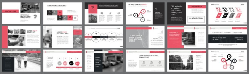 Black and pink marketing or planning concept infographics set Wall mural