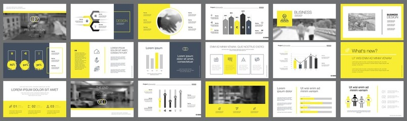 Black and yellow marketing or teamwork concept infographics set
