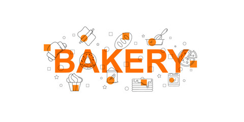 Bakery vector banner. Word with line icon. Vector background