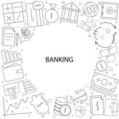 Banking background from line icon. Linear vector pattern