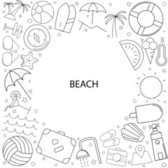 Beach background from line icon. Linear vector pattern