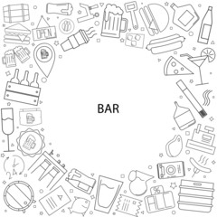 Bar background from line icon. Linear vector pattern