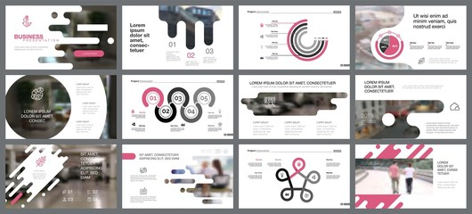 Business presentation with pink elements