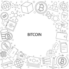 Bitcoin background from line icon. Linear vector pattern