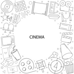 Cinema background from line icon. Linear vector pattern