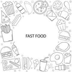Fast food background from line icon. Linear vector pattern