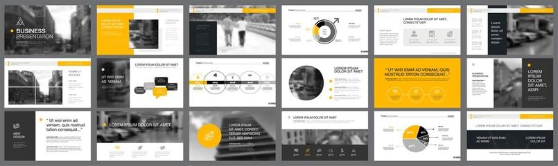 Orange and black marketing or finance concept infographics set