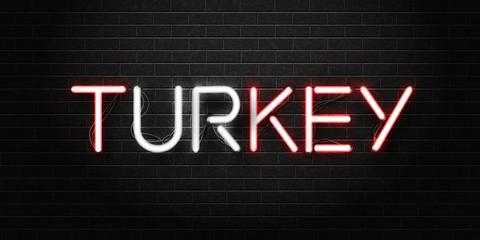 Vector realistic isolated neon sign of Turkey lettering logo for decoration and covering on the wall background. Concept of Turkish culture.