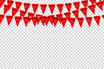 Vector realistic isolated Turkish party flags for decoration and covering on the transparent background.