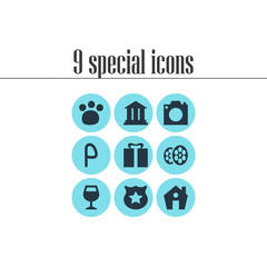 Vector illustration of 9 check-in icons. Editable set of academy, zoo, cinema and other icon elements.