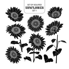 Set of isolated silhouette sunflower set 1.