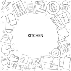 Kitchen background from line icon. Linear vector pattern