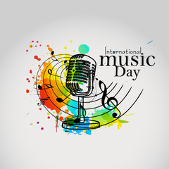 nice and beautiful abstarct or poster for International Music Day with nice and creative design illustration.