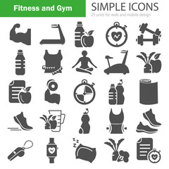 Fitness and Training simple icons for web and mobile design