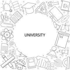 University background from line icon. Linear vector pattern