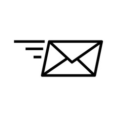Fast mail and letter. speed vector. line art