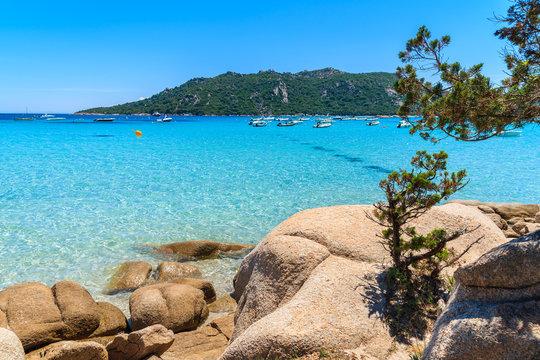 Rocks on beautiful Santa Giulia beach, Corsica island, France