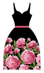 Print for dress with pink peonies flowers. Vector illustration.