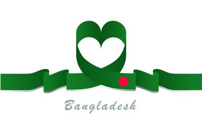 bangladesh flag and love ribbon
